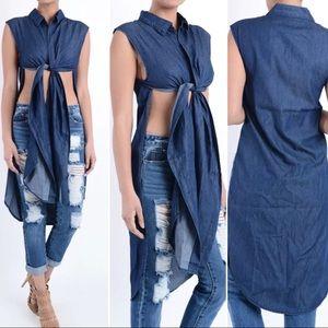 New Plus Size Multi Way Denim Multiway  Shirt